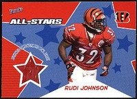 2005 Bazooka Player Worn All-Stars Jerseys Rudi Johnson NFL Football Card