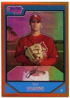 2007 Bowman Chrome Prospects Orange Refractors Trey Hearne Baseball Card