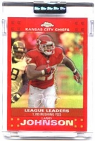 2007 Topps Chrome Red Refractors Uncirculated League Leader Larry Johnson NFL Football Card