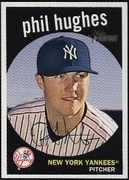 2008 Topps Heritage Black Back Phil Hughes Baseball Card