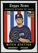 2008 Topps Heritage Mitch Stetter Rookie Baseball Card