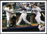 2009 Topps B.J. Upton & Carl Crawford & Evan Longoria Tampa Bay Rays Postseason Highlights Baseball Card