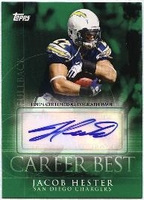 2009 Topps Career Best Autographs Jacob Hester Autographed NFL Football Card