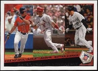2009 Topps Chipper Jones & Albert Pujols & Matt Holliday Batting Average League Leaders Baseball Card