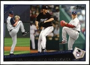 2009 Topps Cliff Lee & Roy Halladay & Daisuke Matsuzaka AL ERA League Leaders Baseball Card