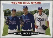 2009 Topps Heritage Scott Kazmir & David Price & James Shields Baseball Card