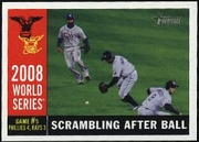 2009 Topps Heritage World Series Rays Scrambing After Ball Baseball Card