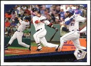 2009 Topps Joe Mauer & Dustin Pedroia & Milton Bradley Batting Average League Leaders Baseball Card
