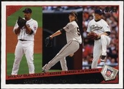 2009 Topps Johan Santana & Tim Lincecum & Jake Peavy NL ERA League Leaders Baseball Card