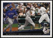 2009 Topps Josh Hamilton & Justin Morneau & Miguel Cabrera AL RBI League Leaders Baseball Card