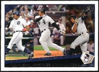 2009 Topps Miguel Cabrera & Carlos Quentin & Alex Rodriguez AL Home Run League Leaders Baseball Card