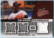 2009 Upper Deck UD Game Materials Melvin Mora White Game-Used Jersey Baseball Card