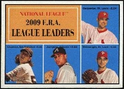 2010 Topps Heritage NL ERA Leaders Chris Carpenter & Tim Lincecum & Jair Jurrjens & Adam Wainwright Baseball Card