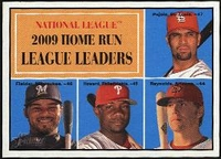 2010 Topps Heritage NL Home Run Leaders Albert Pujols & Prince Fielder & Ryan Howard & Mark Reynolds Baseball Card