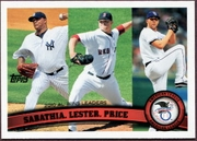 2011 Topps AL Wins League  Leaders CC Sabathia & Jon Lester & David Price Baseball Card