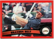 2011 Topps Factory Set Red Border Brandon Belt Baseball Card