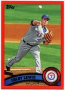 2011 Topps Factory Set Red Border Colby Lewis Baseball Card