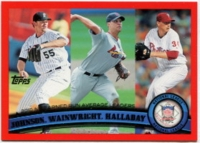 2011 Topps Factory Set Red Border Josh Johnson & Adam Wainwright & Roy Halliday Baseball Card