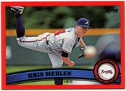 2011 Topps Factory Set Red Border Kris Medlen Baseball Card