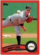 2011 Topps Factory Set Red Border Matt Cain Baseball Card