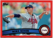 2011 Topps Factory Set Red Border Mike Minor Baseball Card