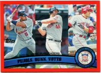 2011 Topps Factory Set Red Border NL Home Run Leaders Albert Pujols & Adam Dunn & Joey Votto Baseball Card