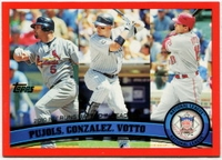 2011 Topps Factory Set Red Border NL RBI Leaders Albert Pujols & Carlos Gonzalez & Joey Votto Baseball Card