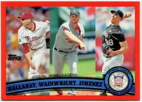 2011 Topps Factory Set Red Border NL Wins Leaders Halladay & Wainwright & Jimenez Baseball Card