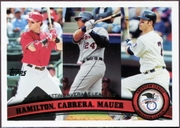 2011 Topps League Leaders Josh Hamilton & Miguel Cabrera & Joe Mauer Baseball Card