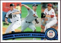 2011 Topps League Leaders Josh Johnson & Adam Wainwright & Roy Halladay Baseball Card