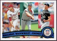 2011 Topps League Leaders  Roy Halladay & Adam Wainwright & Ubaldo Jimenez Baseball Card