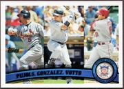 2011 Topps NL RBI League Leaders Albert Pujols & Carlos Gonzalez & Joey Votto Baseball Card