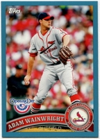 2011 Topps Opening Day Blue Adam Wainwright Baseball Card
