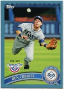 2011 Topps Opening Day Blue Ben Zobrist Baseball Card