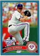 2011 Topps Opening Day Blue Cole Hamels Baseball Card