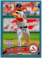 2011 Topps Opening Day Blue Jaime Garcia Baseball Card