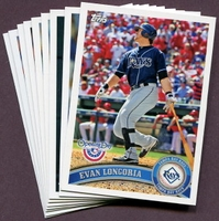 2011 Topps Opening Day Tampa Bay Rays Baseball Cards Team Set