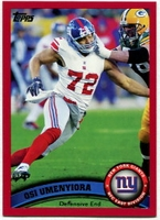 2011 Topps Red Osi Umenyiora NFL Football Card
