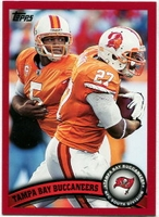 2011 Topps Red Tampa Bay Buccaneers Team Card with Josh Freeman & LeGarrette Blount NFL Football Card
