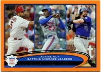 2012 Topps Factory Set Orange Albert Pujols & Vladimir Guerrero & Todd Helton Batting Avg. Leaders Baseball Card