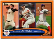 2012 Topps Factory Set Orange Tim Lincecum & Chris Carpenter & Roy Oswalt NL ERA Leaders Baseball Card
