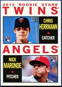 2013 Topps Heritage Chris Herrmann Rookie & Nick Maronde Rookie Baseball Card