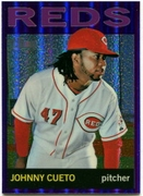 2013 Topps Heritage Chrome Purple Refractors Johnny Cueto Baseball Card