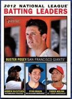 2013 Topps Heritage League Leaders Buster Posey & Andrew McCutchen & Ryan Braun & Yadier Molina Baseball Card