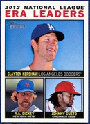 2013 Topps Heritage League Leaders Clayton Kershaw & RA Dickey & Johnny Cueto Baseball Card