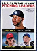 2013 Topps Heritage League Leaders David Price & Jered Weaver & Matt Harrison Baseball Card