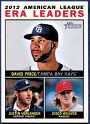 2013 Topps Heritage League Leaders David Price & Justin Verlander & Jered Weaver Baseball Card