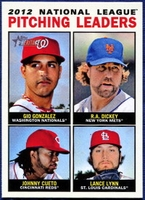 2013 Topps Heritage League Leaders Gio Gonzalez & RA Dickey & Johnny Cueto & Lance Lynn Baseball Card