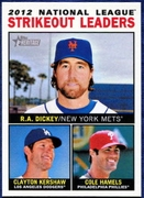 2013 Topps Heritage League Leaders RA Dickey & Clayton Kershaw & Cole Hamels Baseball Card