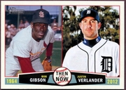 2013 Topps Heritage Then and Now Bob Gibson & Justin Verlander Baseball Card